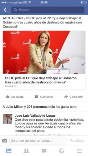 captura pantalla Alcalde PP insultando a Cristina Maestre