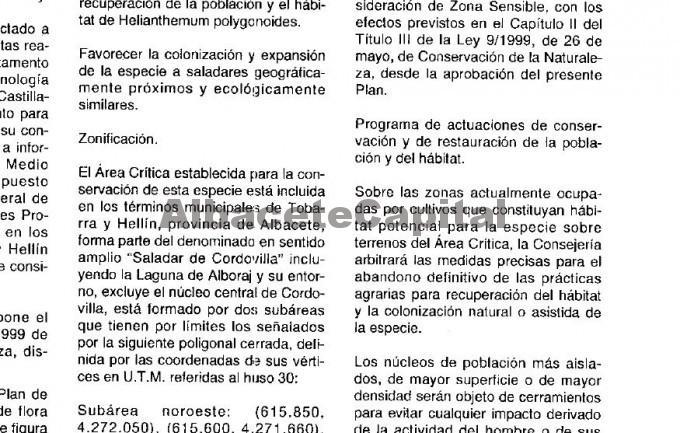 Extracto del Decreto de Proteción de la Helianphemum Poligonoides 30 de diciembre de 1999 DOCLM