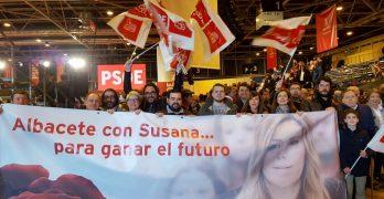 Militantes, alcaldes y portavoces municipales de la provincia de Albacete acompañan a Susana Díaz en su  acto de Madrid